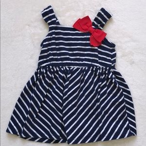 3/$25 Gymboree Navy/white striped dress